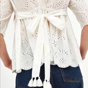 Zara cutout embroidered top